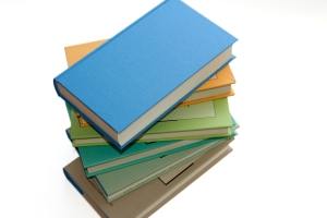 Stack of books used in ebook