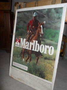 This metal Marlboro sign is an example of advertising memorabilia