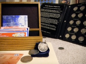 Coin Collection, loose coins, wood box