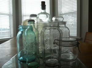 Glass jars and bottles