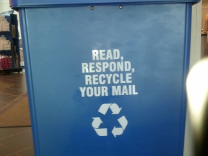 Recycle your mail drop box at post office