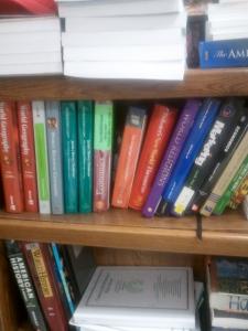 school books on shelves