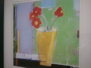 Artwork of flowers in vase at hospital