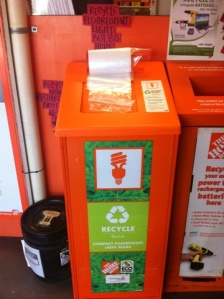 CFL recycling box at Home Depot