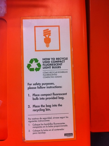Instructions On The CFL Recycling Box At Home Depot