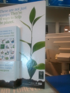 Green stamps display at usps