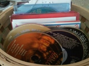 Basket of DVDs