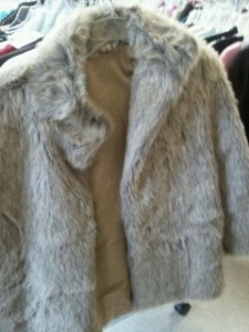 Gray fur coat