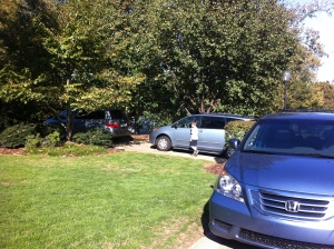 3 blue mini vans