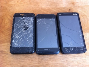 Shattered cell phone screens