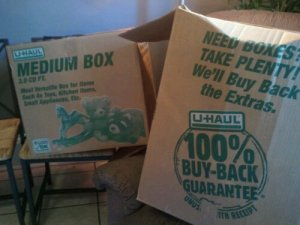 two uhaul boxes